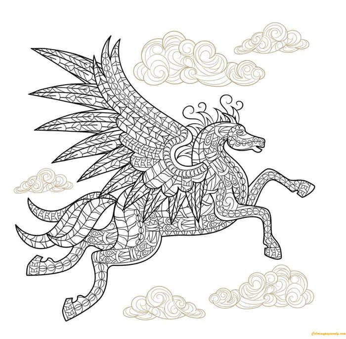 Pegasus Horse With Wings Coloring Page Dengan Gambar