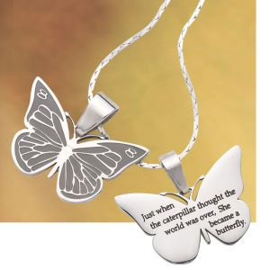 """Just when the caterpillar thought the world was over, she became a butterfly"" necklace"