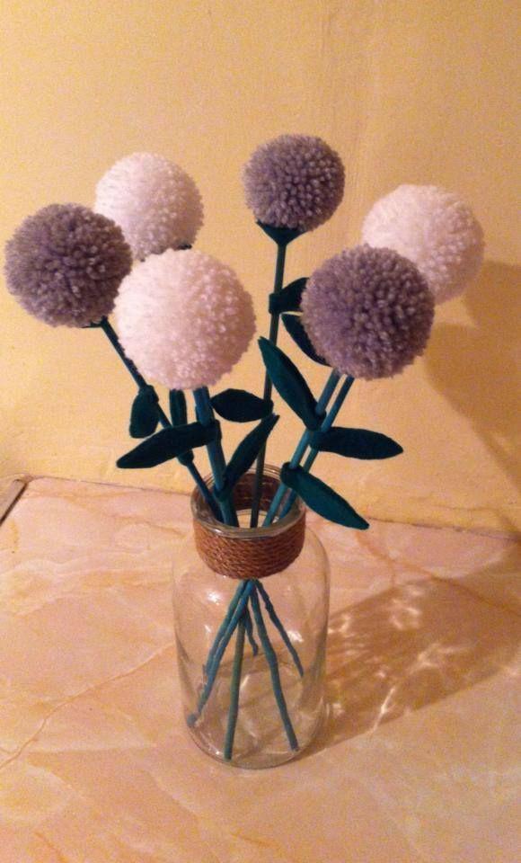 Grey and white pompom flowers