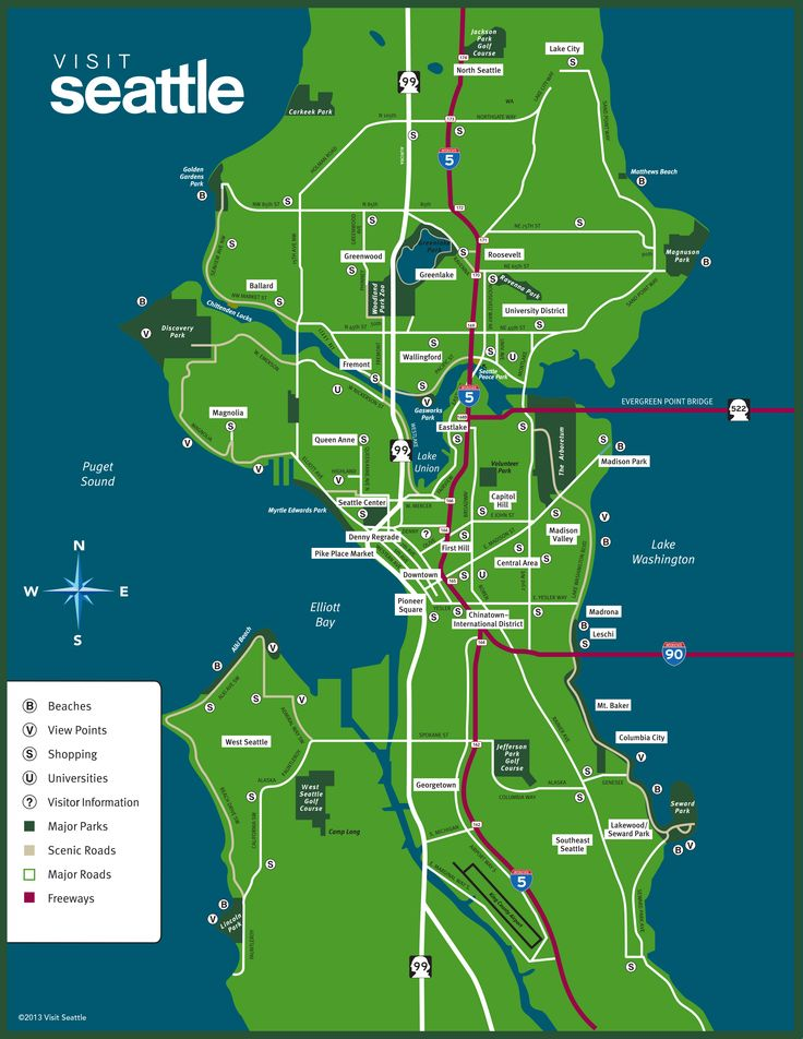 A Map Of Seattle Washington Washington Dc Map