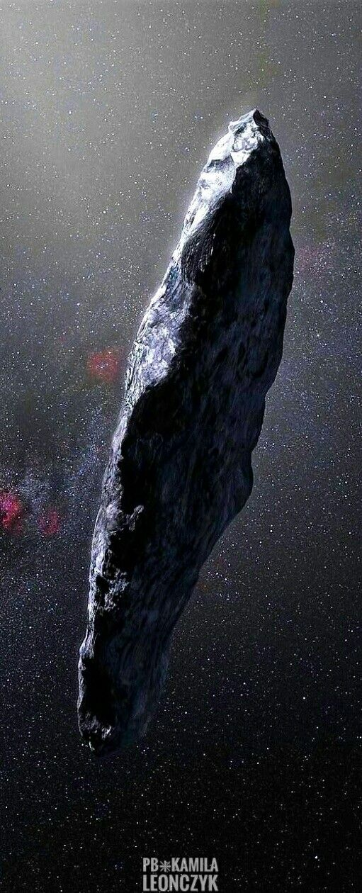 The first interstellar asteroid: `Oumuamua. This unique object was discovered on 19 October 2017 by the Pan-STARRS 1 telescope in Hawai`i. Subsequent observations from ESO's Very Large Telescope in Chile and other observatories around the world show that it was travelling through space for millions of years before its chance encounter with our star system. `Oumuamua seems to be a dark red highly-elongated metallic or rocky object, about 400 metres long