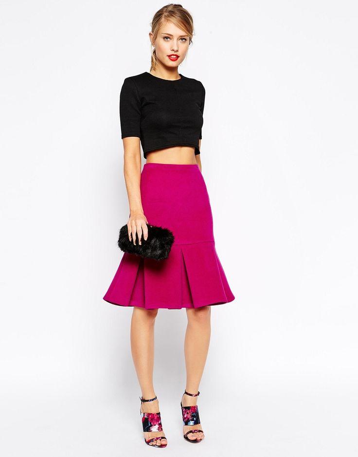 ASOS Skirt with Peplum Hem in Wool Texture
