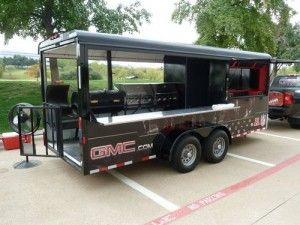 NFL BBQ Trailer - 23-foot trailer with 2 grills, 1 smoker, 2 flat screens, and 2 X-Boxes. Sweet!