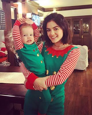 Lucy Hale as an elf! Matching Christmas pajamas. So cute!