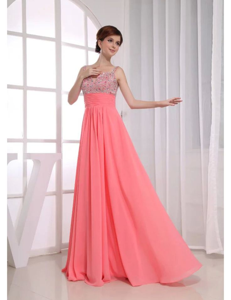 >> Click to Buy << Robe de Soiree Pink Chiffon Spaghetti Strap Evening Dresses A Line Long Beaded Crystal Sequins Draped Prom Dress #Affiliate
