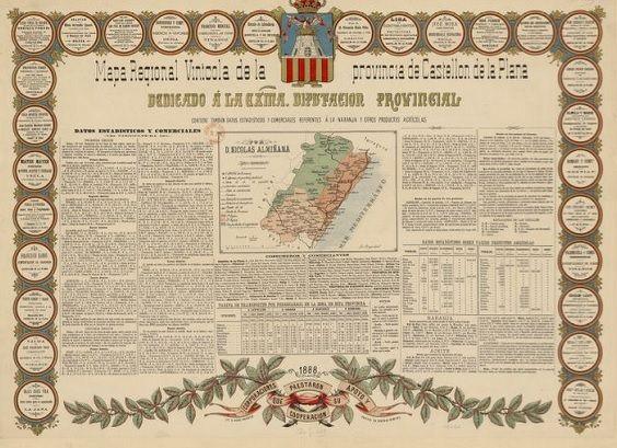 Mapa regional vinícola de la provincia de Castellón de la Plana. Valencia, 1888. En: Gallica Bibliothèque Nationale de France