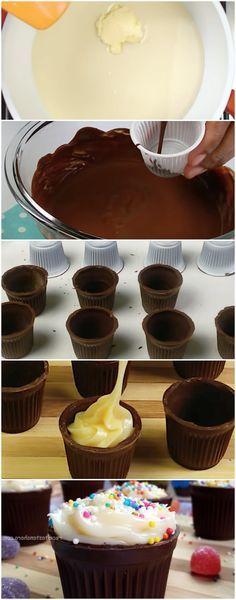 Copinho de Chocolate Recheado com Brigadeiro ( MAIS FACIL DO MUNDO ) #sobremesa #sobremesas #doce #doce #copinhodechocolate #copinhodechocolatefacil #copinhodechocolaterapido