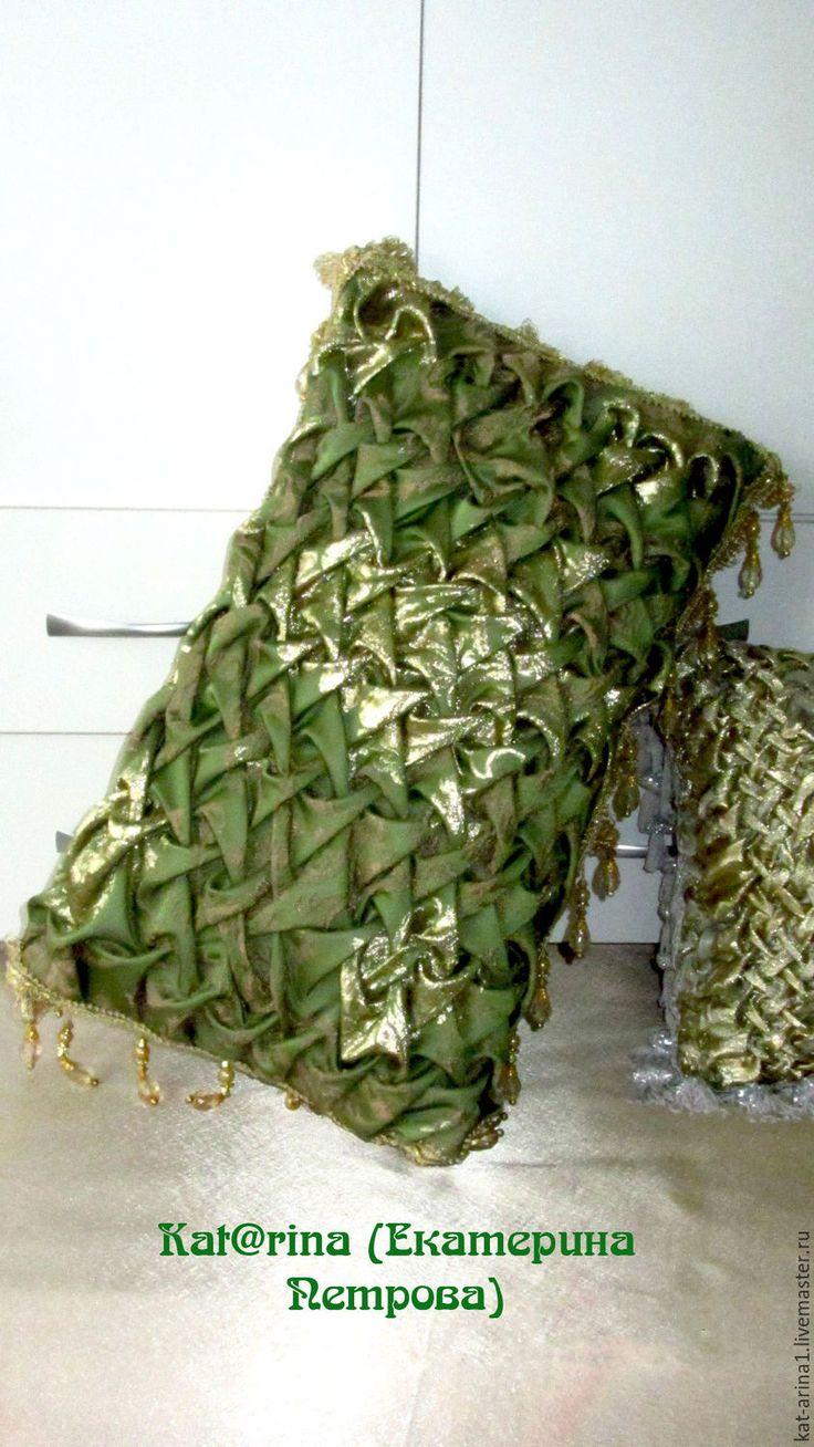 """Купить Наволочка на подушку. """"Дворцовая-№1"""" зелёный золотой - тёмно-зелёный, подушка, наволочка"""