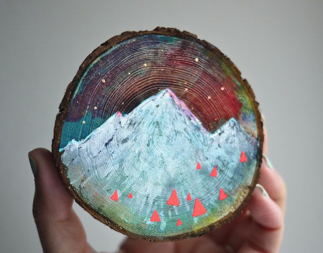 Mini paintings on cedar by Cathy McMurray on Etsy |
