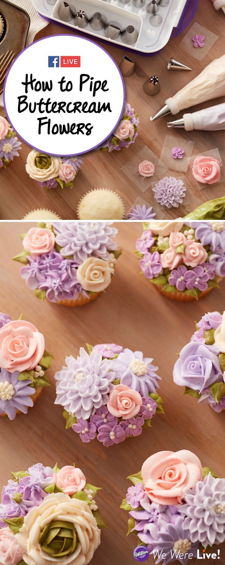 TUTORIAL - Learn how to pipe buttercream flowers to make beautiful cupcakes! This Facebook Live episode by Wilton Cake Decorating will show you how to make buttercream flowers like Chrysanthemum, Ranunculus, and Daisy.  cake decorating tips and tricks