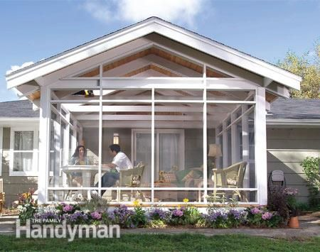 Enclosed Porch Ideas Ranch Home   The screen porch is light and airy.