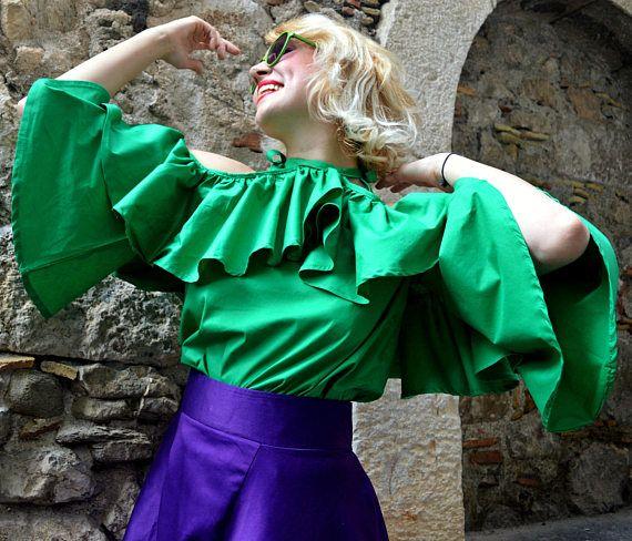 Extravagant Green Cotton-Poplin Peplum Top, Cropped Ruffled Summer Top, Green Cropped Top, Extravagant Ruffled Summer Top TT118