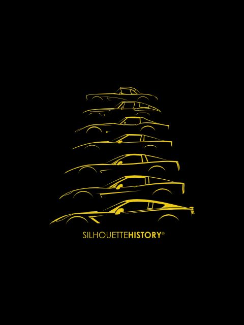 American Sports Car SilhouetteHistory Silhouettes of the seven generations of Chevrolet Corvette: 1958 C1, 1963 C2, 1973 C3, 1983 C4, 2000 C5, 2005 C6 and 2013 C7