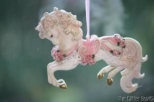 pictures od shabby chic christmas ornaments | Shabby Cottage Chic Christmas Ornaments Romance Carousel Horse Adler ...