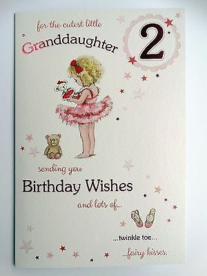 Granddaughter 2 Today 2nd Girl Dancing Design Happy Birthday Card Lovely Verse