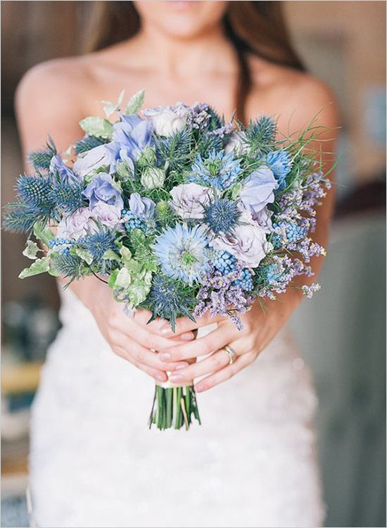 Wildflower look in hues of blue and purples