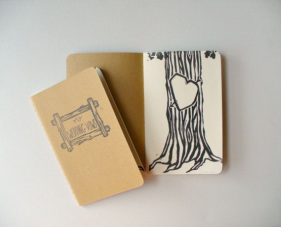 wedding vows notebooks - pocket moleskine, rustic wedding vows notebooks, woodland wedding vows, his and hers vows books    a pair of keepsake
