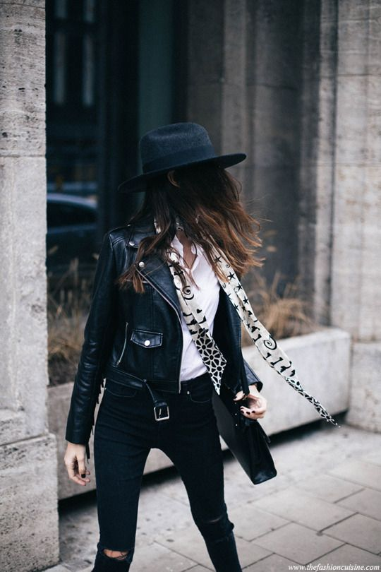 leather jacket + hat