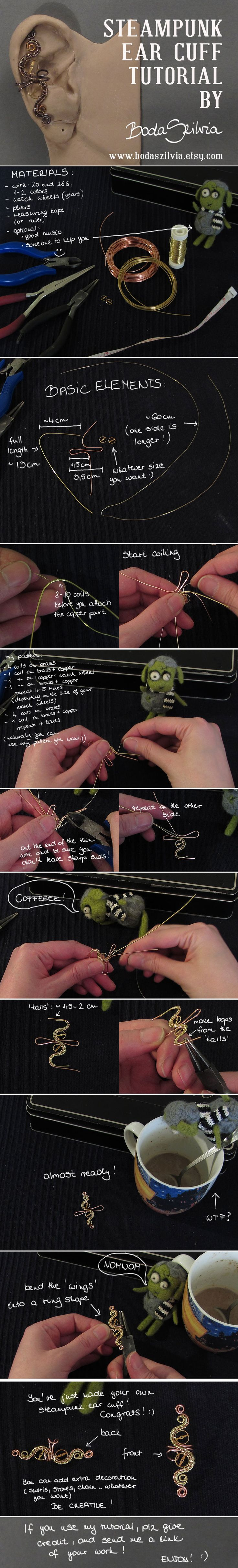 Steampunk inspired ear cuff - wire wrap