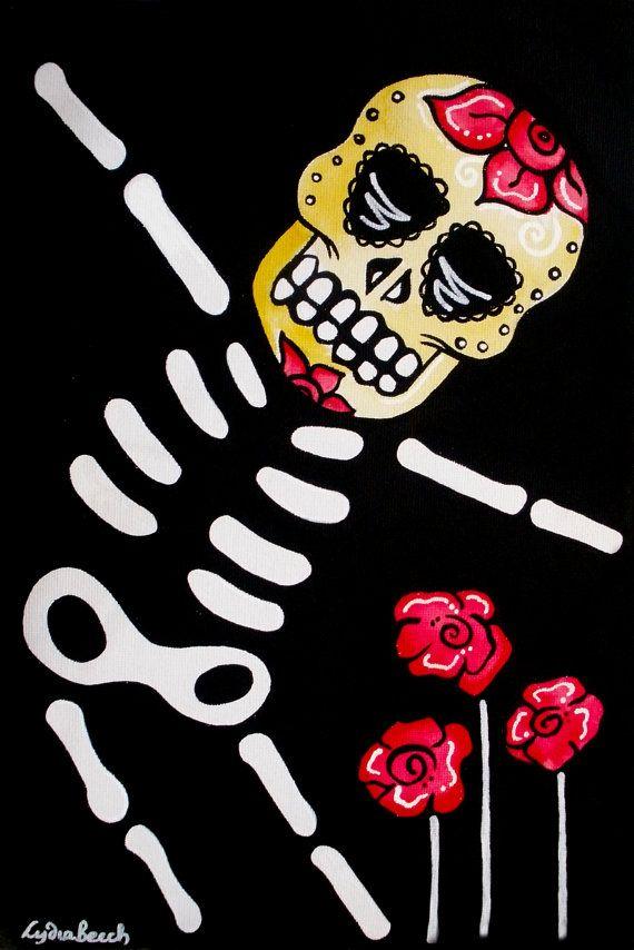 Dia de Los Muertos Day Of The Dead Skeleton Dancing Sugar Skull  // Colorful Original Art Acrylic // 24x30x1.5