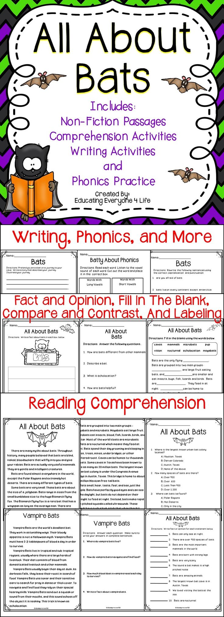 Classroom Activities - Bats - This All About Bats resource is a great supplemental activities pack for the classroom. This teaching resource includes reading comprehension, writing, phonics, capitalization, punctuation, and more!