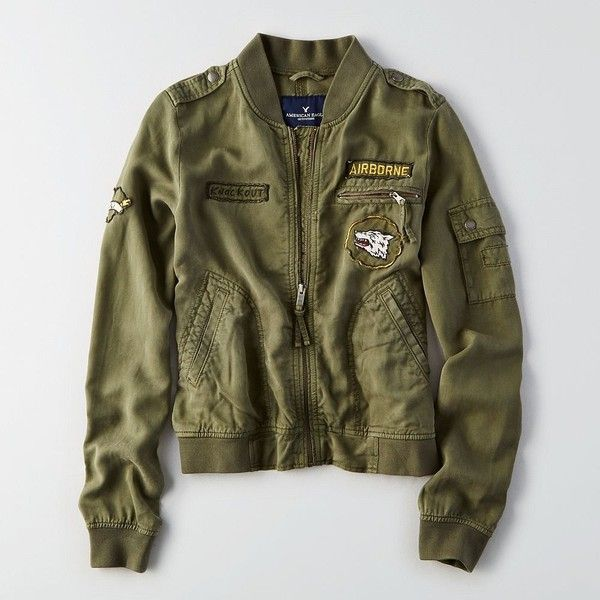 AE Airborne Bomber ($80) ❤ liked on Polyvore featuring outerwear, jackets, green, green bomber jackets, bomber jackets, style bomber jacket, american eagle outfitters and green jacket