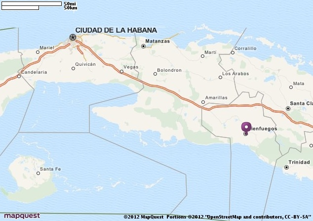 Map of Cienfuegos, Cuba.  Helping you discover the REAL Cuba. Find out more at www.cubarocks.co.uk. Source: mapquest