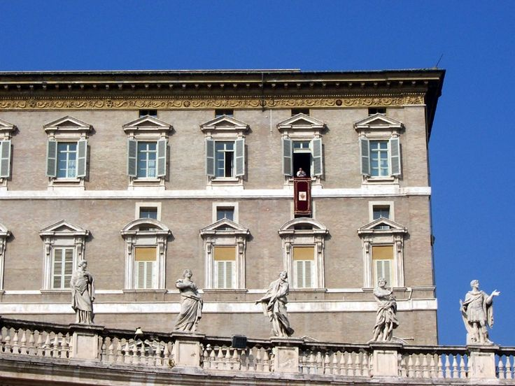 The Apostolic Palace (Palazzo Apostolico), the official residence of the Pope. Here, Benedict XVI is at the window marked by a maroon banner hanging from the windowsill at centre. ◆Vatican City - Wikipedia http://en.wikipedia.org/wiki/Vatican_City #Vatican