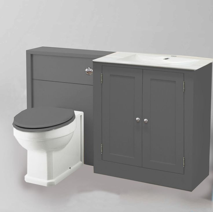 Painted Combination Vanity Unit With Marble Tops Over The Basin And Toilet Unit Toilet Vanity
