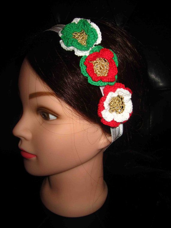 Headband with red green and white crochet flowers by WhiteBea, $10.00