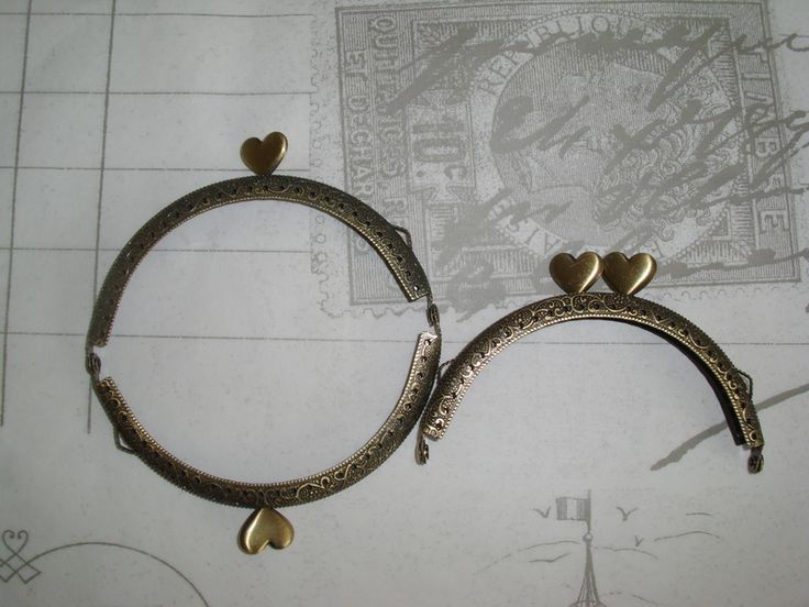 Taschenbügel antik Bronze  halbrund Herzchen Clips von Leinen-Traum auf DaWanda.com