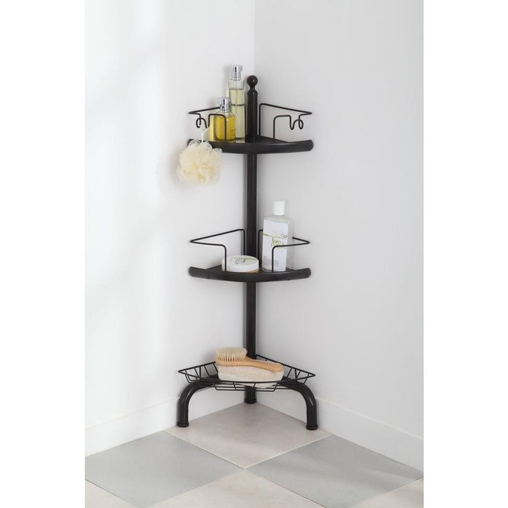 Home Zone 3 Tier Adjustable Corner Shower Caddy, Oil-Rubbed Bronze Finish