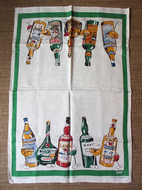 Lamont liquors. Vtg midcentury kitchen towel / bar by fuzzandfu