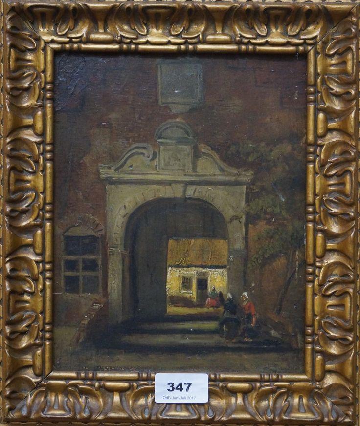 Hollandse school, 19e eeuw, olieverf op paneel, dames bij poortje