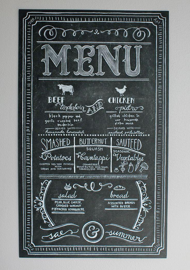 Beautiful custom chalk wedding menu - Design by Laura Jean http://designbylj.wordpress.com/