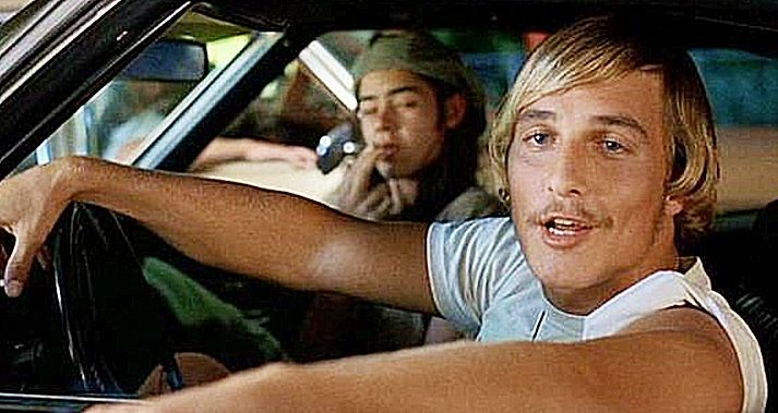 """Dazed and Confused (1993). L to R: Ron Slater (Rory Cochrane) & David Wooderson (Matthew McConaughey). David: """"How ya doin'?"""" Cynthia Dunn (Marissa Ribisi): """"Pretty good."""" David: """"Cool. You heard about the party bein' busted, right?"""" Cynthia: """"Oh, yeah."""" David: """"Yeah?"""" Cynthia: """"Yeah."""" David: """"Not to worry. There's a new fiesta in the making as we speak. It's out at the moon tower. Full kegs. Everybody's gonna be there. You oughta go."""" Cynthia: """"Okay."""""""