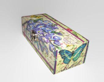 Decoupage madera té caja - Decoupage caja de joyería/recuerdo - escritorio ordenado - caja de la baratija de mariposa