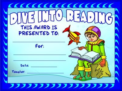 """FREE DOWNLOAD:  """"Dive Into Reading Award Certificate.""""  Use this free award certificate to recognize your students' for the number of books they have read, achievement in reading, or improvement in reading.  Download this free reading award certificate on Unique Teaching Resources:  http://www.uniqueteachingresources.com/book-reports.html   (FREE!)"""