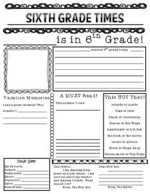 Printables 6th Grade Fun Worksheets 1000 images about sixth grade printables on pinterest free first week newspaper from the big brain emporium page this printable is a quick and easy getting to know yo