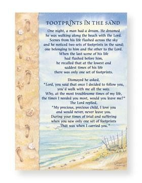 Footprints In The Sand Poem Note Cards