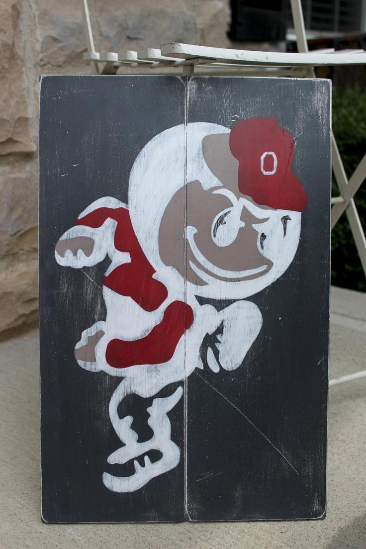 Ohio State Buckeyes, Brutus, Wood Wall Art, Distressed Sign, Vintage Style