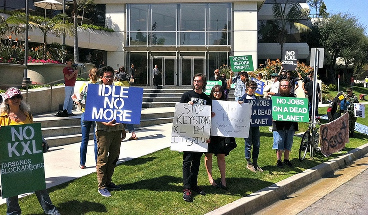 Friday, March 22 – L.A. calls out John Hancock Life Insurance for Funding a Deadly Pipeline -   Protestors chanted, danced, and picketed at John Hancock Life Insurance office in El Segunda, CA. John Hancock is the U.S. wing of Manufacturers Life Insurance Company, which owns over 4 million shares in TransCanada. Organizers highlighted the irony of a life insurance company funding a deadly pipeline.