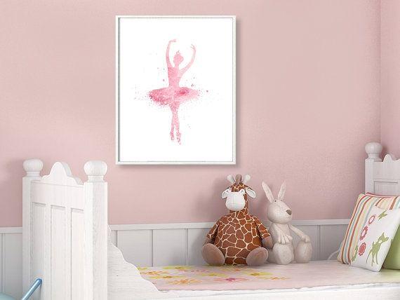 Ballerina Watercolor Art Print Ballerina Painting Home by QPrints