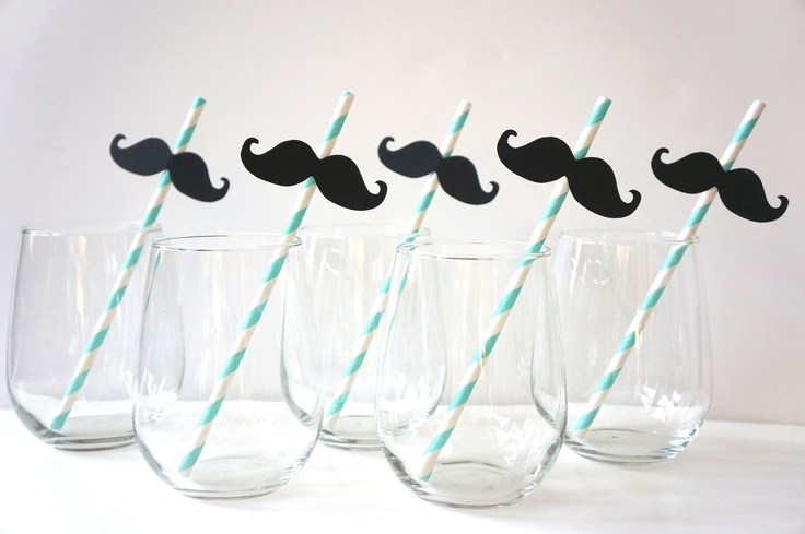 SALE - Photo Booth Props - Mustache Straw Photo Props - Set of 5 - Mustaches on AQUA Striped Paper Straws