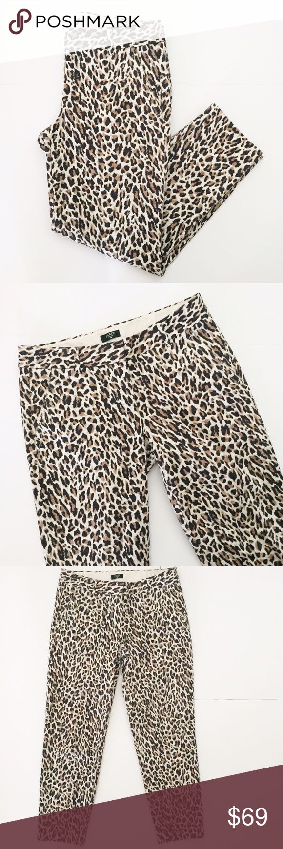 "J. Crew Stretch Animal Print City Fit Crop Pants J. Crew Stretch City Fit Capri / Crop Pant. Animal Print- black, tan, brown, cream / white. Has 2 front and 2 back pockets. 33 1/2"" long, inseam about 26"" long, ankle width 6"" flat, knee 8"" flat, thigh 10 1/2"" flat, waist 15 1/4"" laying flat. 98% cotton and 2% spandex. Great condition- barely worn. NO TRADES. J. Crew Pants Ankle & Cropped"