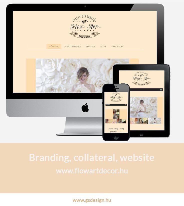 Responsive webdesign. Branding, collateral, website for a creative business: FlowArtDecor.  www.flowartdecor.hu @Papír Virág
