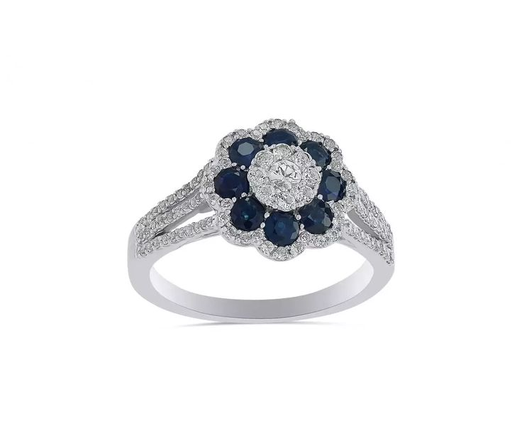STERLING SILVER BLUE SAPPHIRE WITH WHITE TOPAZ FLOWER RING