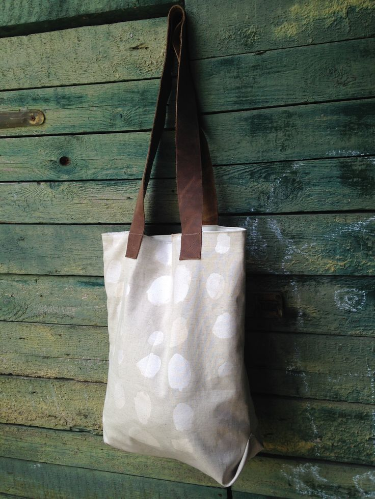 Hepphabit canvas tote bag made of Nani Iro textile.  Canvas, Linen string, leather handles