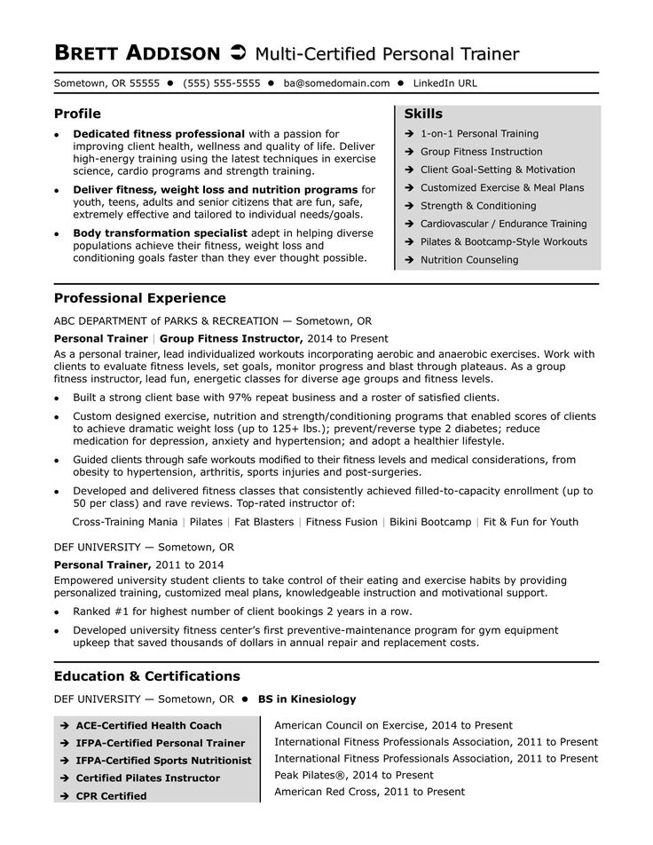 Personal trainer resume sample Personal trainer, Resume