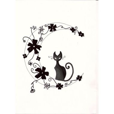 tatuaggio luna con gatto e fiori